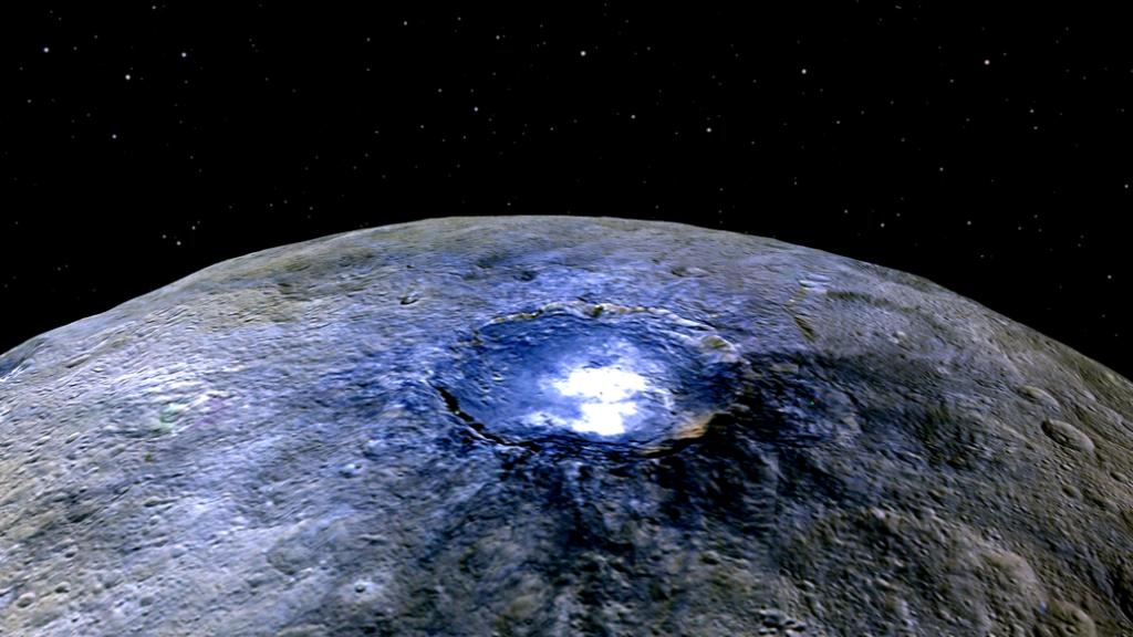 Cratère Occator sur Cérès vu par la sonde Down